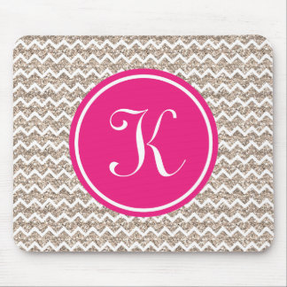 Preppy Chevron in Gold Glitter Mouse Pad