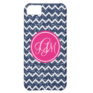 Preppy Chevron in Navy Glitter iPhone 5C Case