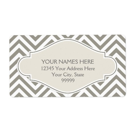 Preppy Chevron Stripe Modern Monogrammed Name Shipping Label