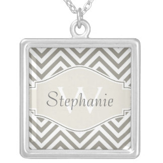 Preppy Chevron Stripe Modern Monogrammed Name Silver Plated Necklace