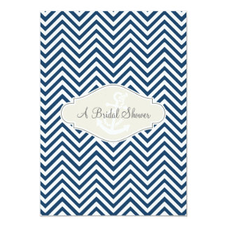 Preppy Chevron Stripe Modern Nautical Anchor Card