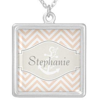Preppy Chevron Stripe Modern Nautical Anchor Silver Plated Necklace