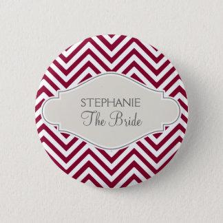 Preppy Chevron Stripe Modern Red White Bride Name 6 Cm Round Badge