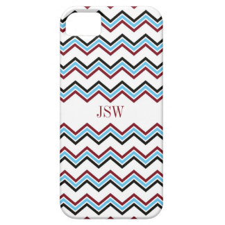 Preppy chevron zigzag blue red pattern monogram barely there iPhone 5 case