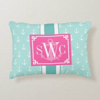 Preppy Chic Nautical Anchors Personalized Monogram Decorative Cushion