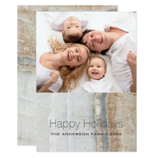 Preppy Chic white marble Happy Holidays Photo Card