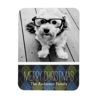 Preppy Christmas Plaid with One Photo Rectangle Magnet