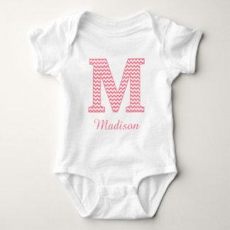 Preppy Classic Chevron Pink Letter M Monogram Baby Bodysuit