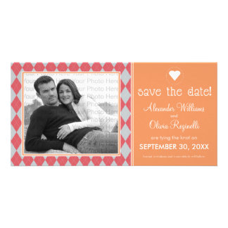 Preppy Coral Argyle Save the Date Announcement Picture Card