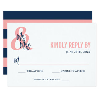 Preppy Coral & Navy Mr & Mrs Wedding RSVP Card