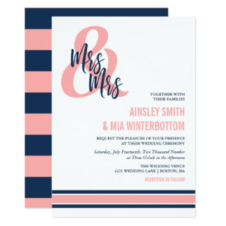 Preppy Coral & Navy Mrs & Mrs Wedding Card