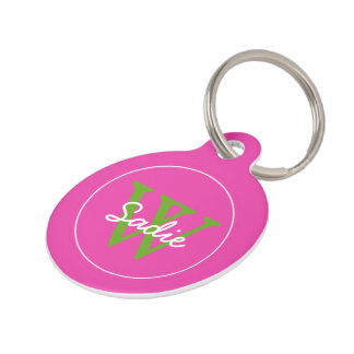 Preppy Diva Pink and Green Apple Monogram Pet Name Tags