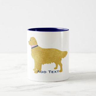 Preppy Dog Golden Retriever Personalized Two-Tone Coffee Mug