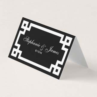 Preppy Elegan White Greek Key Escort Cards