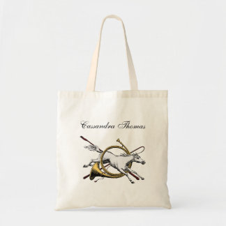 Preppy Equestrian Horse Jumping Through Color Tote Bag