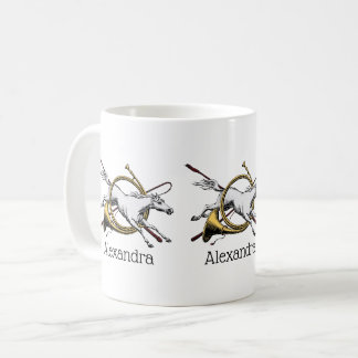 Preppy Equestrian Horse Jumping Through Horn Color Coffee Mug