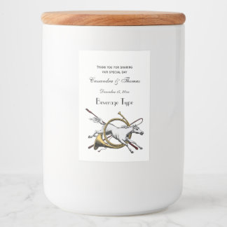 Preppy Equestrian Horse Jumping Through Horn Color Food Label