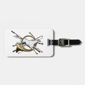 Preppy Equestrian Horse Jumping Through Horn Color Luggage Tag