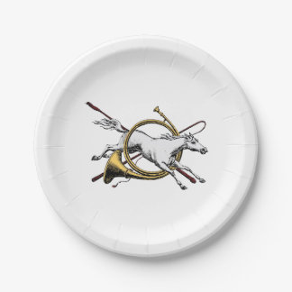 Preppy Equestrian Horse Jumping Through Horn Color Paper Plate