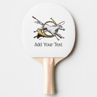 Preppy Equestrian Horse Jumping Through Horn Color Ping Pong Paddle