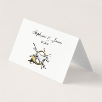 Preppy Equestrian Horse Jumping Through Horn Color Place Card