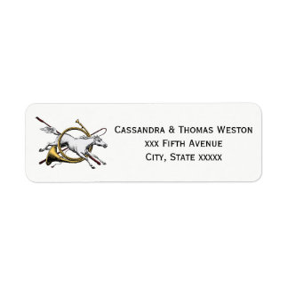 Preppy Equestrian Horse Jumping Through Horn Color Return Address Label
