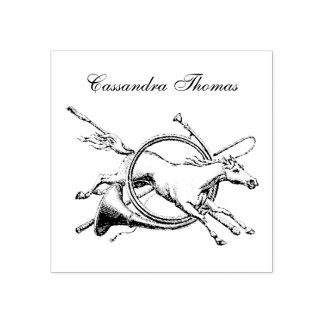 Preppy Equestrian Horse Jumping Through Horn Color Rubber Stamp