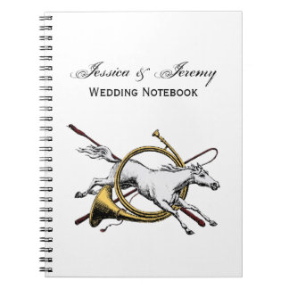 Preppy Equestrian Horse Jumping Through Horn Color Spiral Notebook