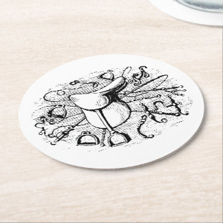 Preppy Equestrian Horse Tack Saddle Bridle Bits Round Paper Coaster