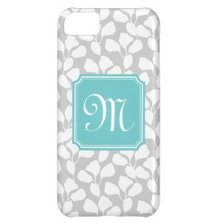 Preppy Floral Vines Turquoise & Gray Monogram iPhone 5C Case