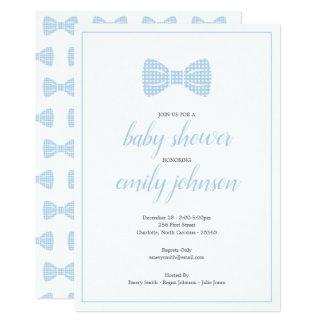 Preppy Gingham Bow Tie Baby Boy Shower Invitation