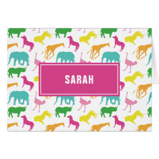 Preppy Girl Safari Animal Personalize Thank You Card