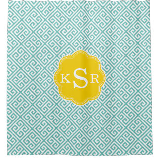 Preppy Girly | Aqua & Yellow Greek Key Custom Shower Curtain