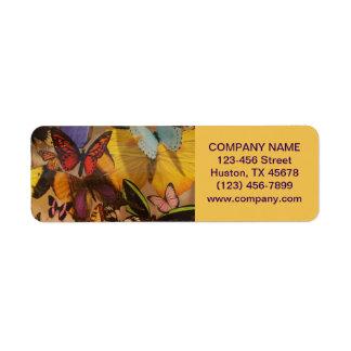 preppy girly colourful modern fashion butterfly return address label