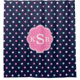 Preppy Girly | Navy Pink Aqua Dots Personalized Shower Curtain