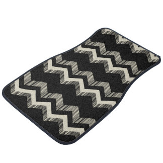 Preppy Girly Pattern Black And Grey Chevron Car Mat