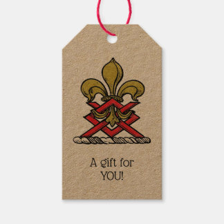 Preppy Gold Red Heraldic Crest Fleur de Lis Emblem Gift Tags