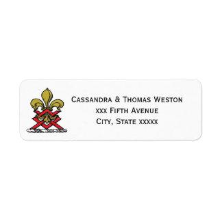 Preppy Gold Red Heraldic Crest Fleur de Lis Emblem Return Address Label