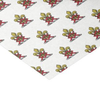Preppy Gold Red Heraldic Crest Fleur de Lis Emblem Tissue Paper