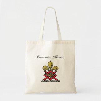 Preppy Gold Red Heraldic Crest Fleur de Lis Emblem Tote Bag