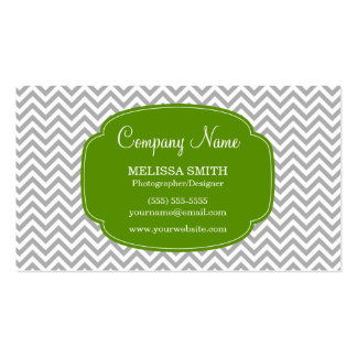 Preppy Gray Green Chevron Pattern Business Card Templates