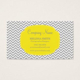 Preppy Gray Yellow Chevron Business Card