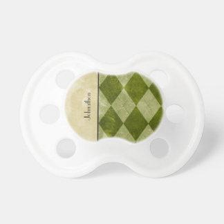 Preppy Green Argyle Classic Masculine Geometric Pacifier