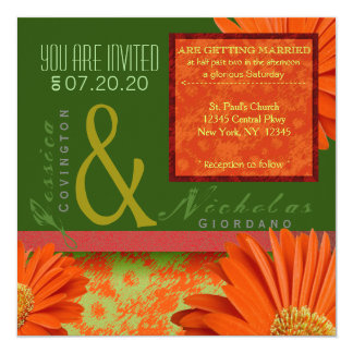 Preppy Green Orange Gerbera Floral Wedding Invites