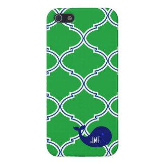 Preppy Green Quatrefoil Blue Whale iPhone5/5S Case iPhone 5 Case