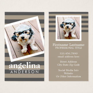 Preppy Grey Striped Pattern Custom Name and Photo Business Card