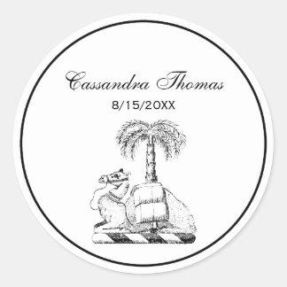 Preppy Heraldic Camel Palm Tree Coat of Arms Classic Round Sticker