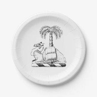 Preppy Heraldic Camel Palm Tree Coat of Arms Paper Plate