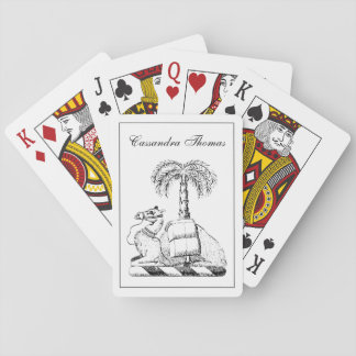 Preppy Heraldic Camel Palm Tree Coat of Arms Playing Cards