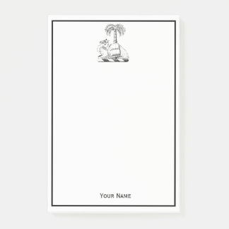 Preppy Heraldic Camel Palm Tree Coat of Arms Post-it Notes